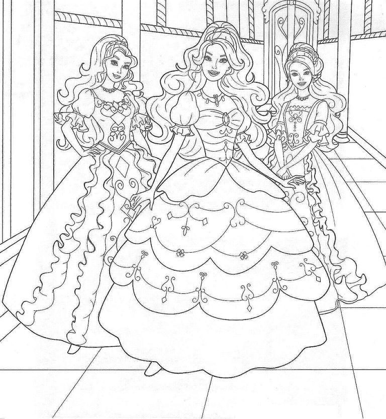 Раскраски для девочек барби печатать