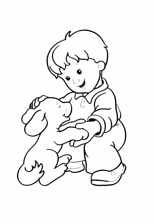 Раскраска щенок и мальчик