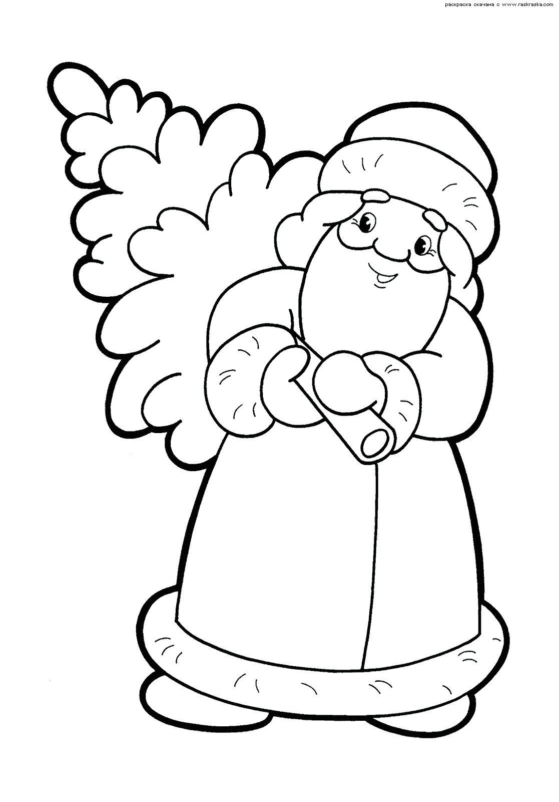 Раскраска на новый год деду морозу