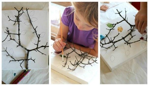 Поделки из веток деревьев для детей своими руками фото