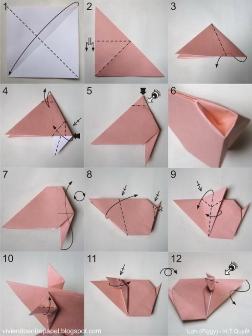 Свинка оригами из бумаги