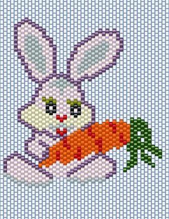 Вышивка зайцы с морковкой