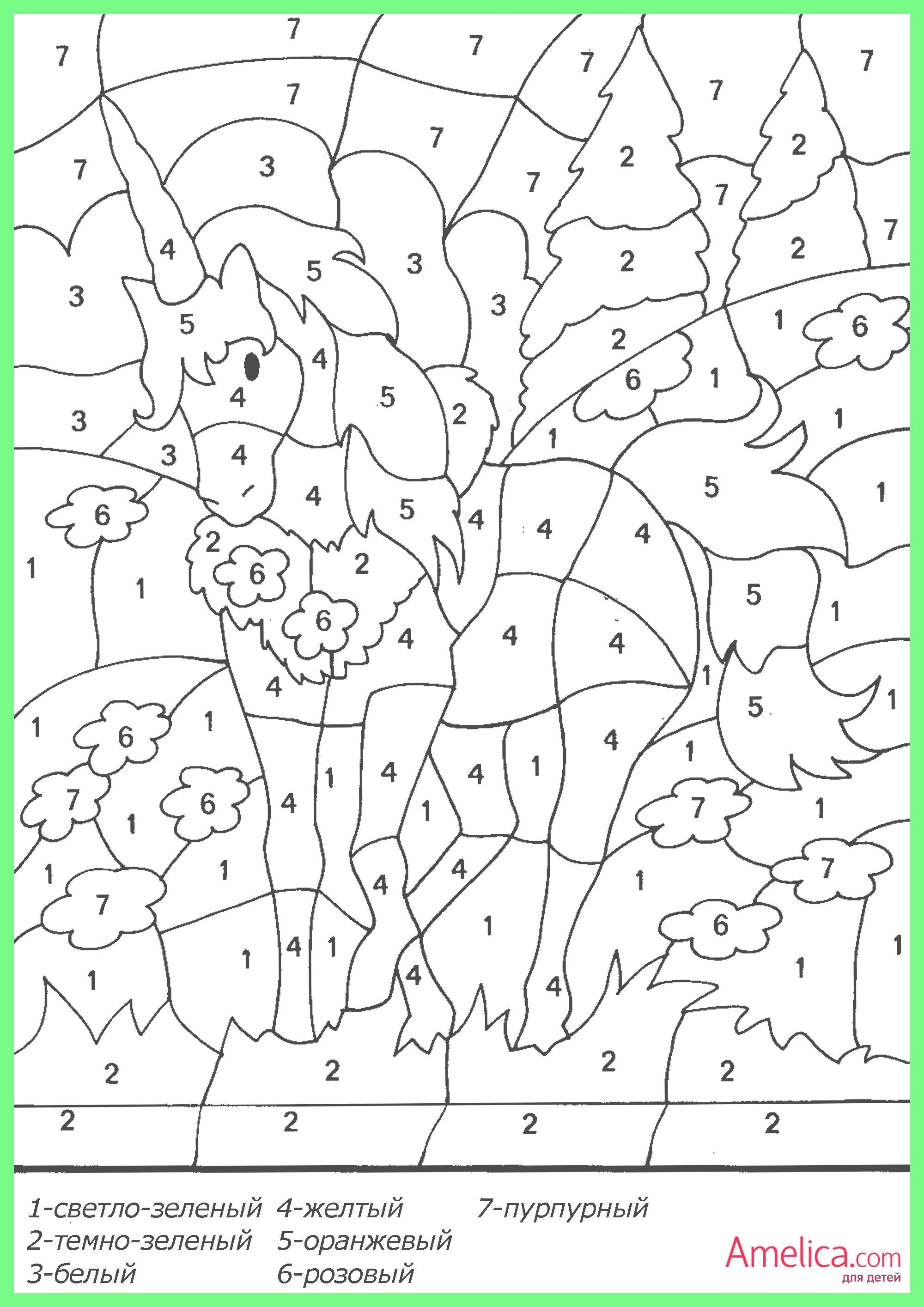 Раскраски по цифрам для детей распечатать