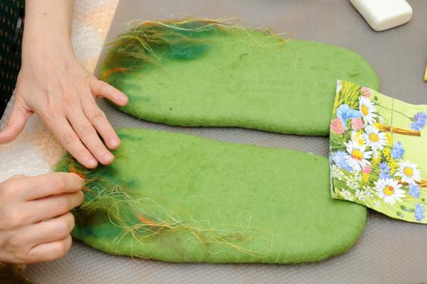 Валяние шерсти тапочки своими руками