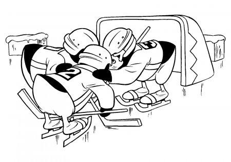 Распечатать раскраски хоккей