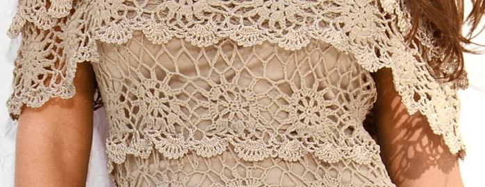 схема вязания ажурного платья крючком