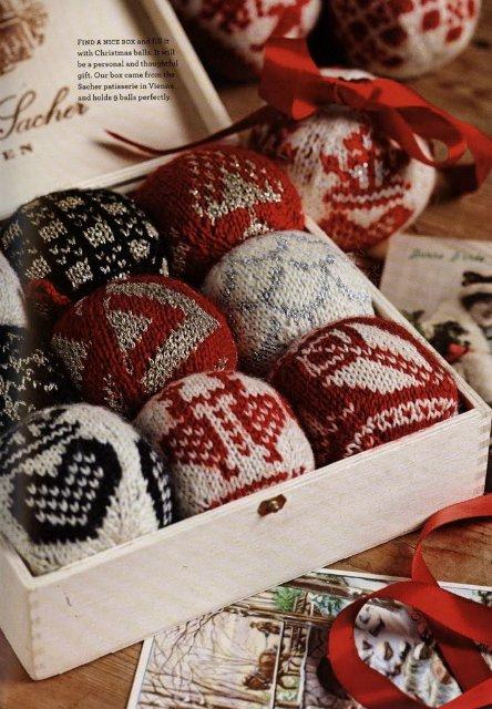 Схемы вязания спицами новогодних шаров на елку