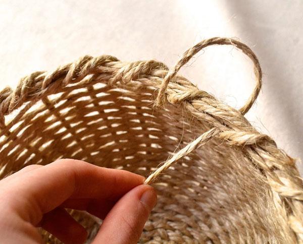 Плетение из веревки корзин из