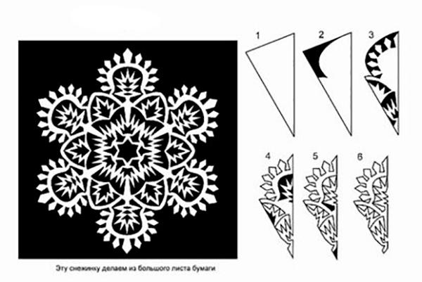 Снежинки из бумаги схемы для детей