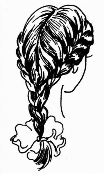 Раскраска коса девочки 3
