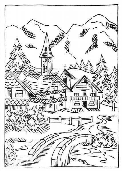 Рисунки для раскраски деревня
