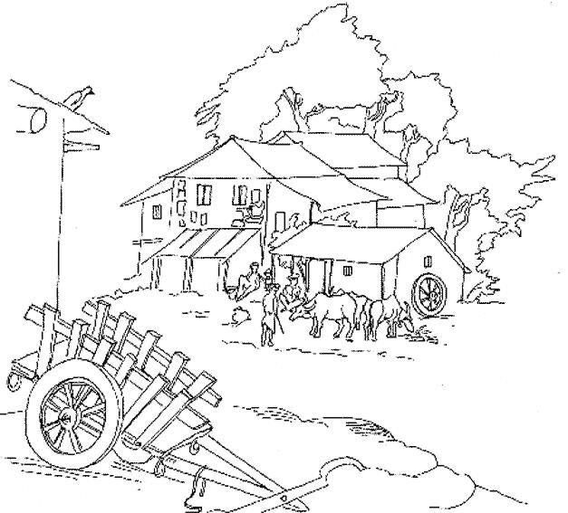 Раскраски деревенька моя