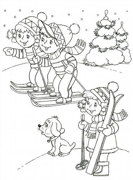 Раскраски зимние игры 133