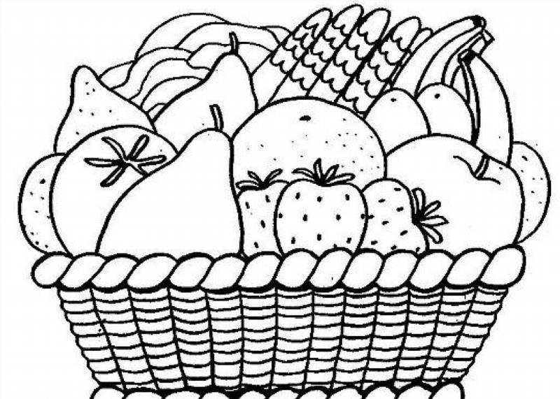 Раскраска корзинки с фруктами