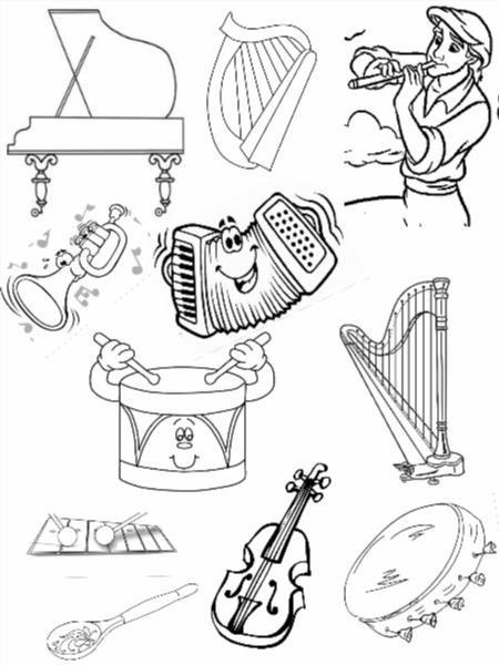 Раскраска детям музыкальные инструменты