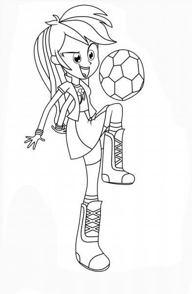 Распечатать раскраски девочки из эквестрии радужный рок