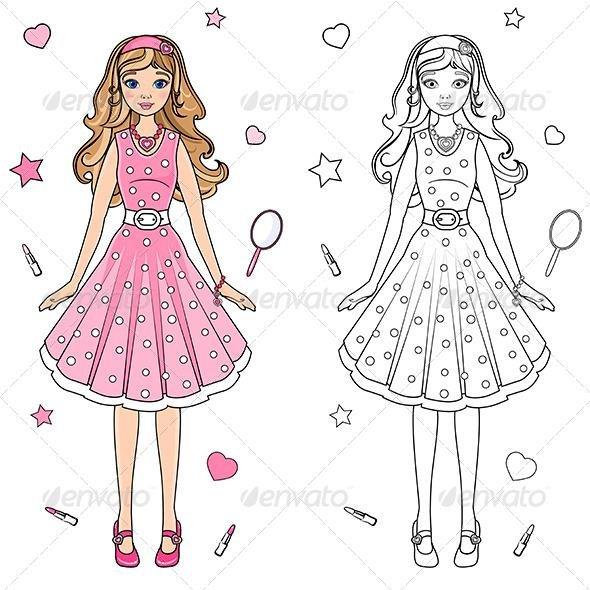 Раскраска девочка в платье для детей - 7