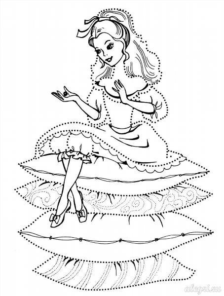 Раскраска принцесса на горошине распечатать