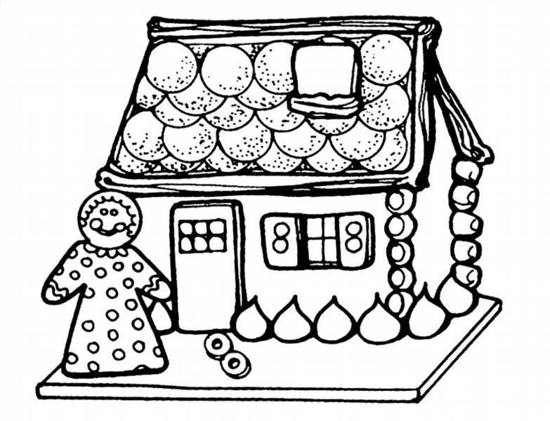 Раскраска пряничного домика