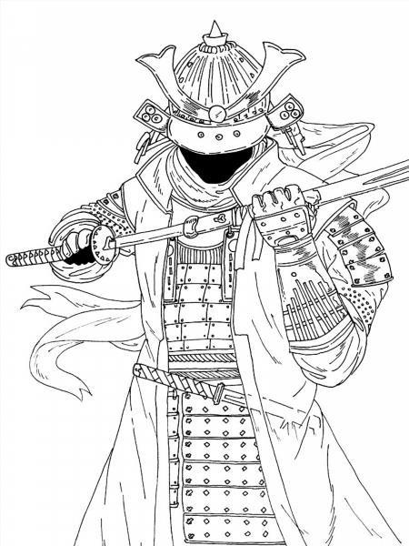 """Раскраски """"самурай"""" скачать и распечатать бесплатно"""