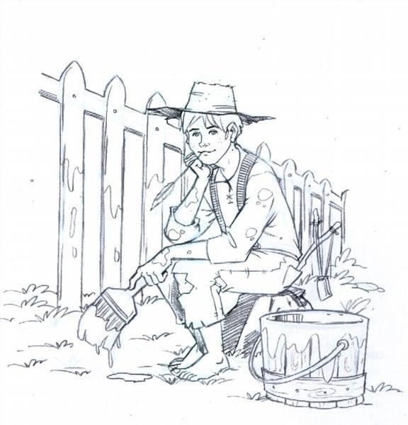 Нарисовать рисунок приключения тома сойера