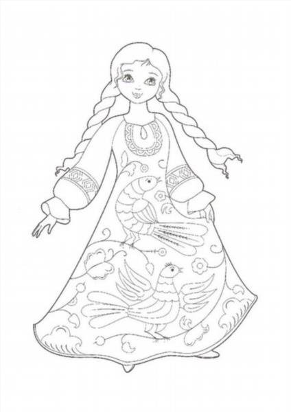 Русская красавица в народном костюме раскраска