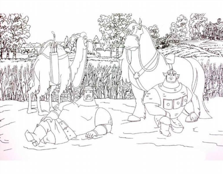 Три коня раскраска