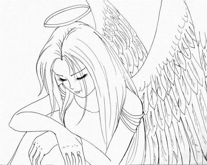 """Раскраски """"аниме ангелы"""" скачать и распечатать бесплатно"""