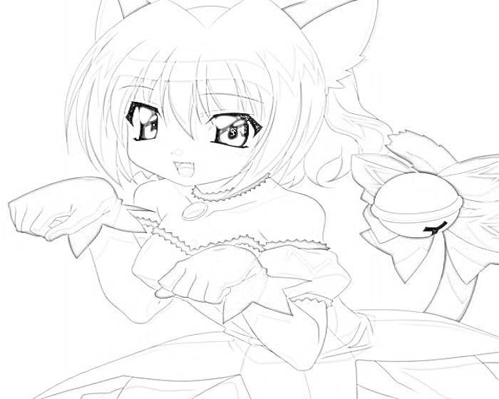 Раскраски аниме девушек кошек