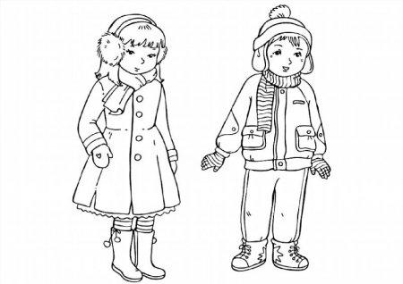 Раскраски зимняя одежда распечатать