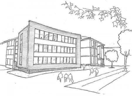 Раскраска здание школы