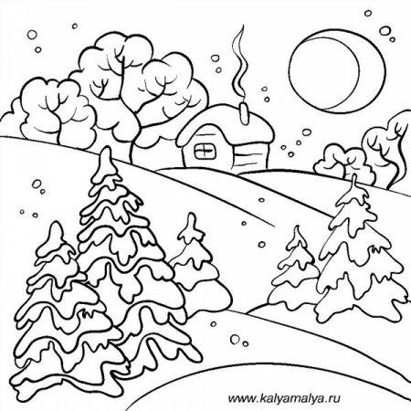 Раскраски зимний домик