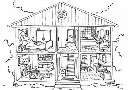 Раскраска детской комнаты с мебелью