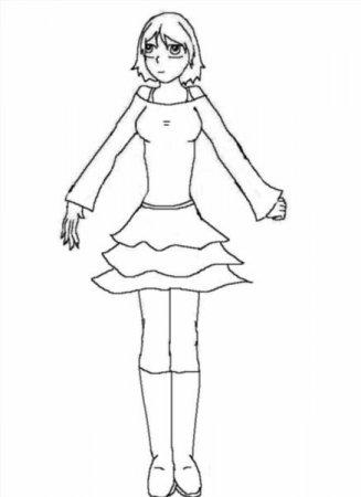 Раскраска девочка в полный рост - 8