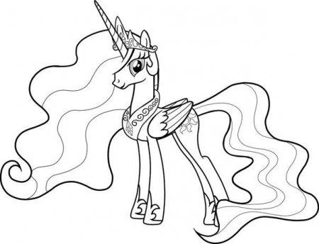 раскраски пони принцесса селестия скачать и распечатать