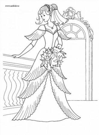 """Раскраски """"принцессы в красивых платьях"""" скачать и ..."""