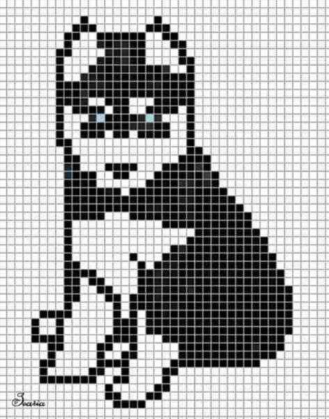 Рисунки по клеточками собаки