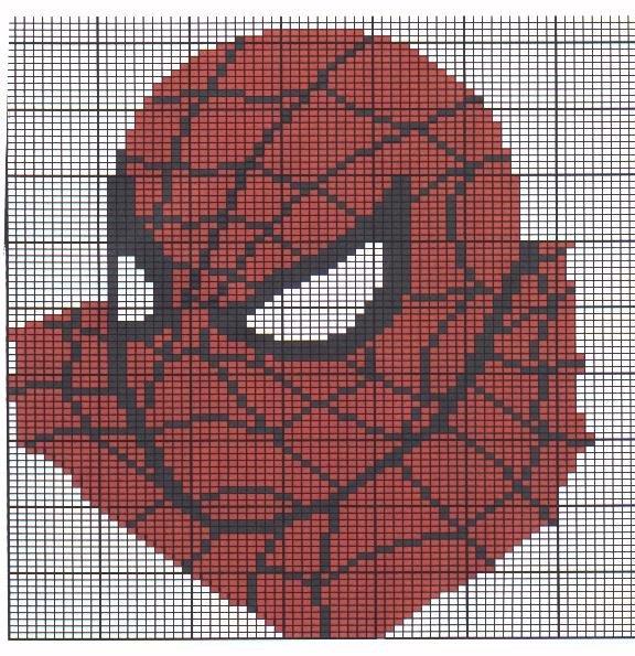 Схема вышивки крестиком человек паук 89