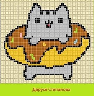 Рисунок по клеточкам кот в пончике