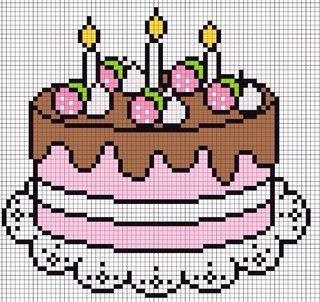 Рисунок по клеточкам с днём рождения