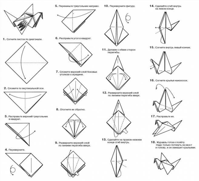 Сделать аиста из оригами