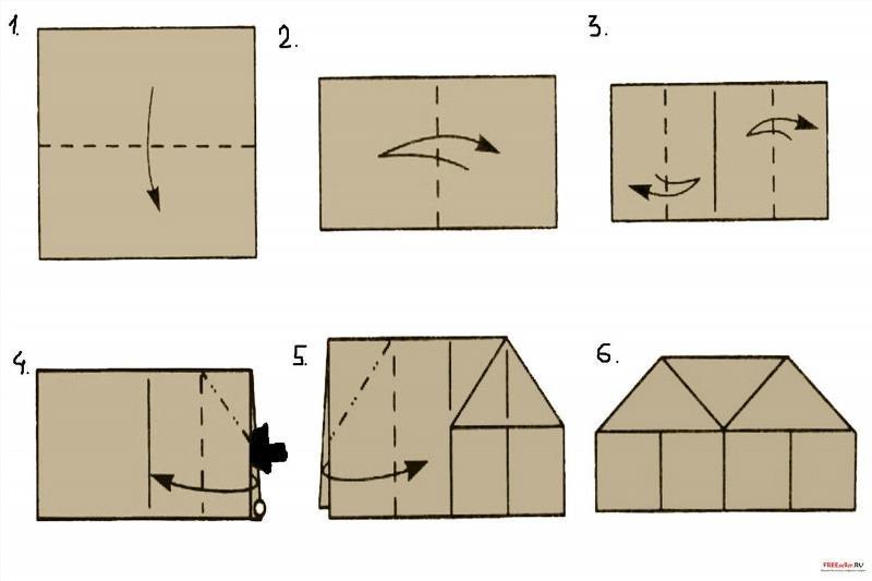Домик из бумаги инструкция
