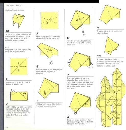 Как сделать оригами замок из бумаги: схемы.