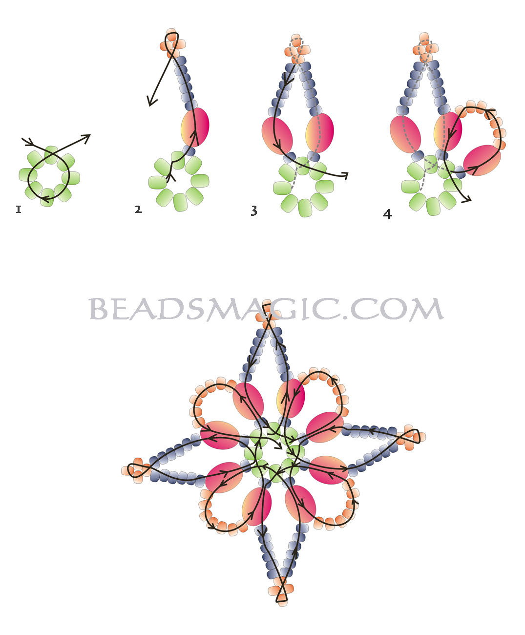 плетение бисером сережки схемы