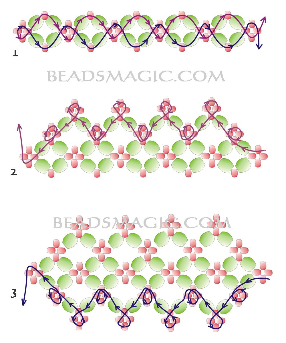 Красивые но простые браслеты из бисера и схемы к ним
