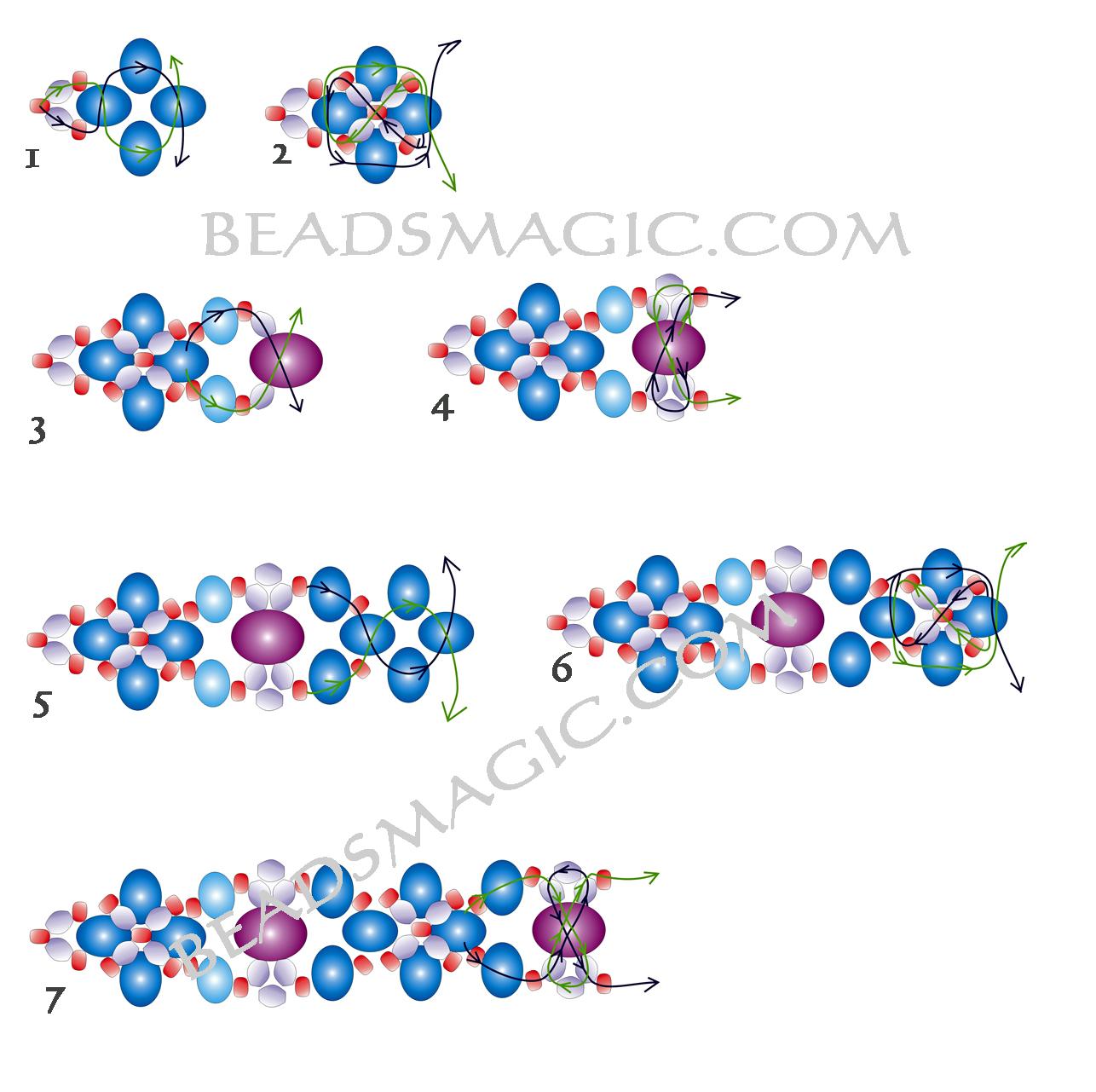 Картинки схемы плетение браслетов из бисера
