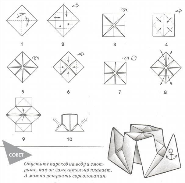 Как из бумаги сделать пароходик из бумаги пошаговая инструкция