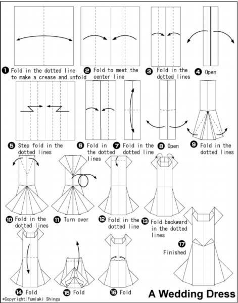 Как сделать оригами платье для открытки с