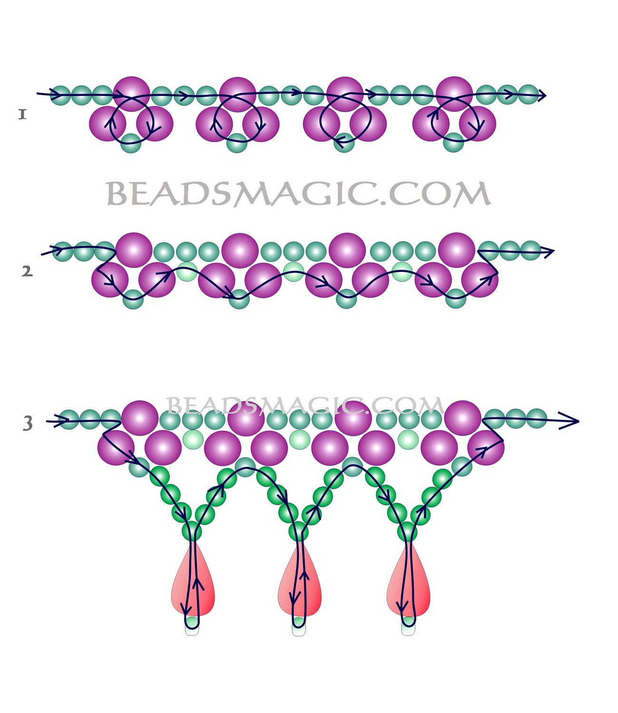 Простые схемы плетения колье из бисера для начинающих