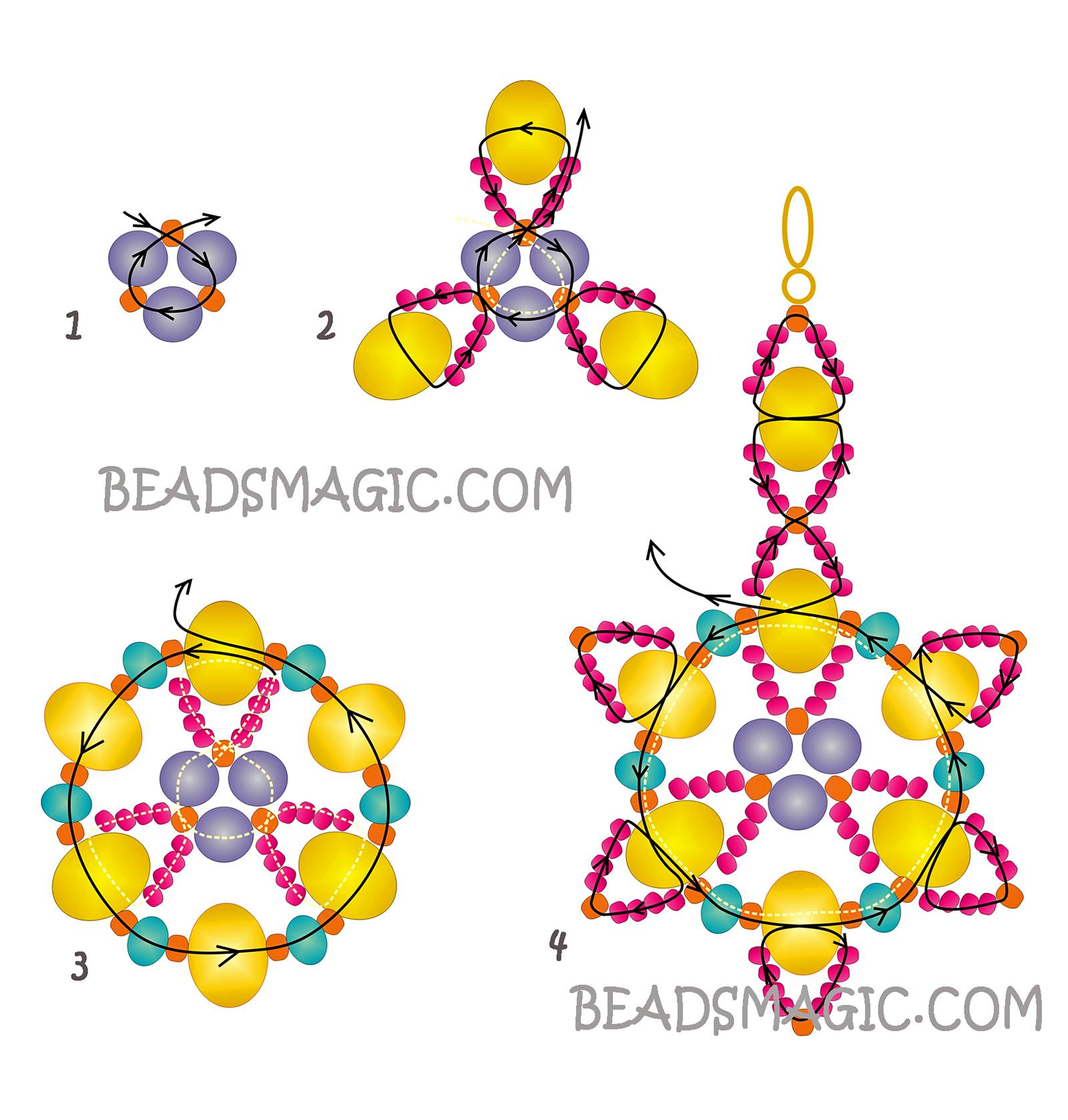 Серьги из бусин своими руками схемы плетения для начинающих